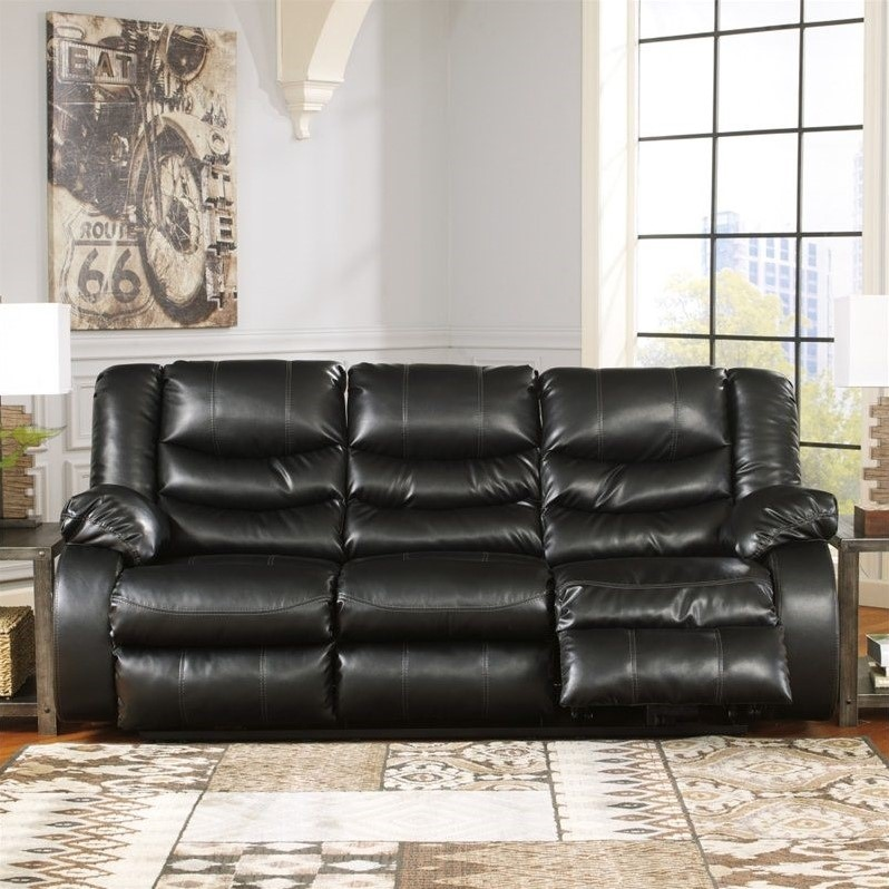 Amazing Ashley Black Leather Reclining Sofa Ashley Furniture Linebacker Leather Reclining Sofa In Black 9520288