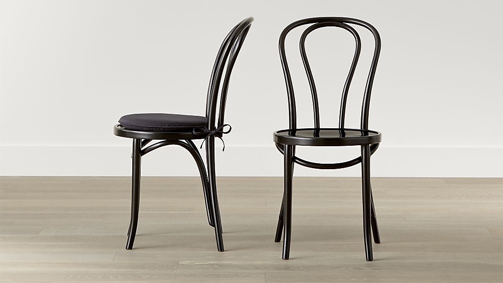 Amazing Black And Wood Dining Chairs Vienna Black Wood Dining Chair And Cushion Crate And Barrel
