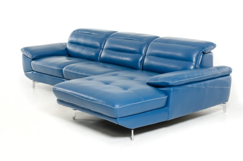 Amazing Blue Leather Chaise Lounge 2017 Perfect Comfortable Blue Leather Sectional Sofa With Chaise