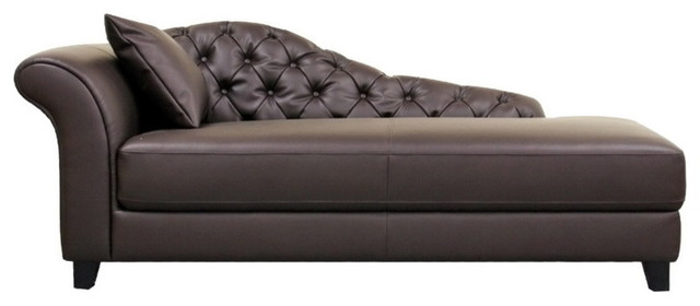 Amazing Brown Leather Chaise Longue Baxton Studio Josephine Brown Leather Victorian Modern Chaise
