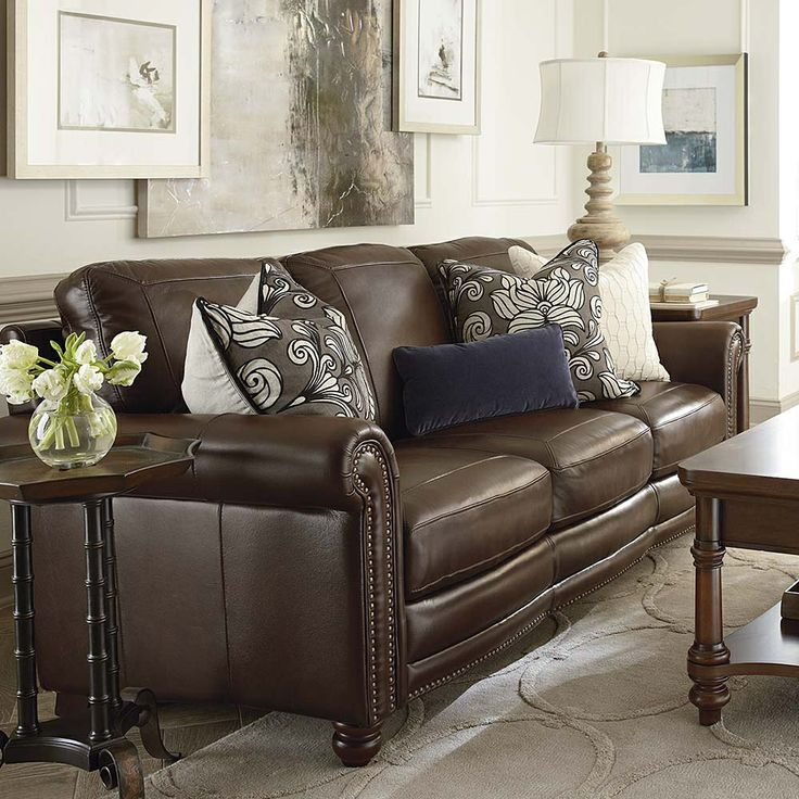 Amazing Brown Leather Couch With Studs Best 25 Ashley Leather Sofa Ideas On Pinterest Neutral Basement