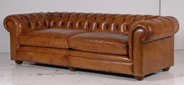 Amazing Brown Leather Couch With Studs Vintage Aged Leather Sofaschesterfields Chairs