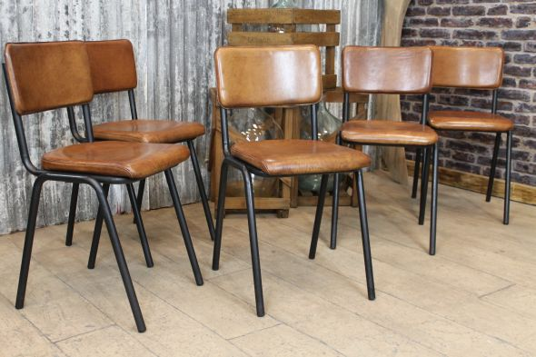 Amazing Brown Leather Kitchen Chairs Chelmsford Leather Stacking Chairs Vintage