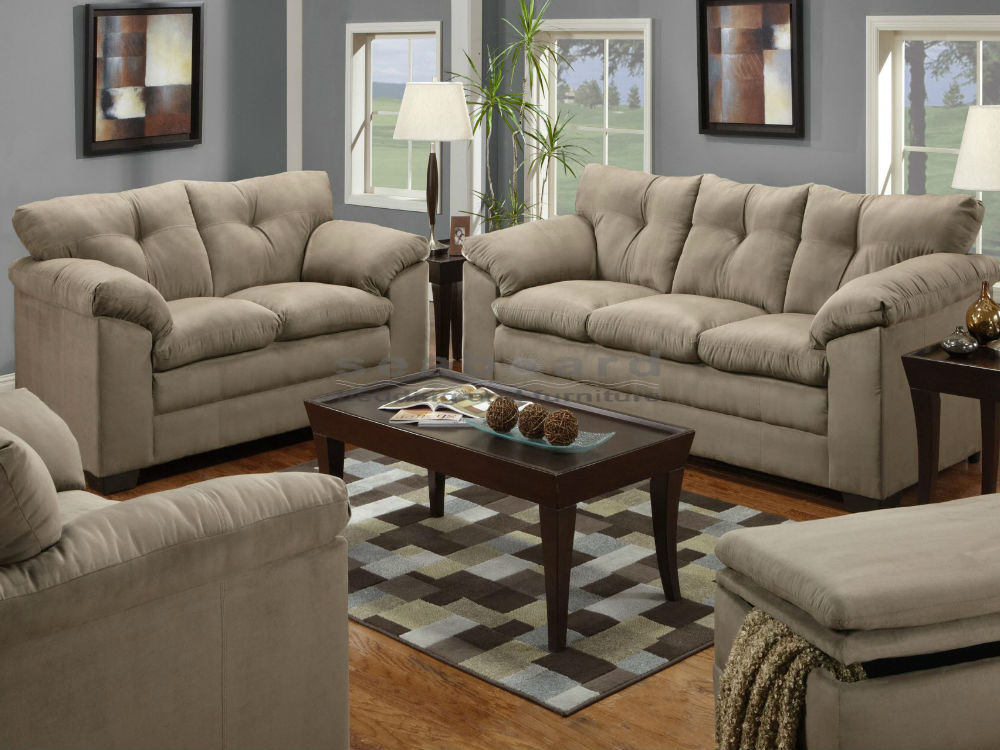 Amazing Couch And Loveseat Set Luna Mineral Microfiber Sofa And Loveseat Set 6565