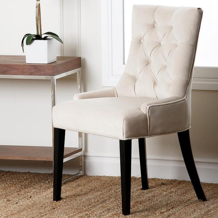 Amazing Cream Dining Chairs With Arms Living Napa Cream Fabric Tufted Dining Chair