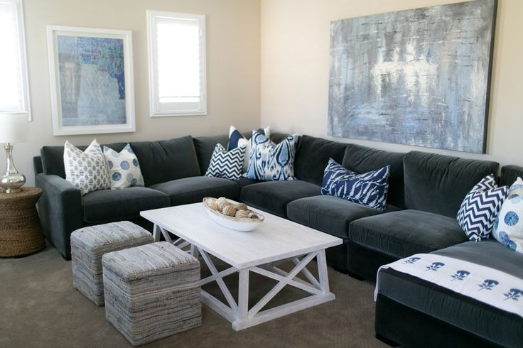 Amazing Dark Gray Sectional Sofa Appealing Dark Gray Sofa With Sectional Houzz Grey Living Room