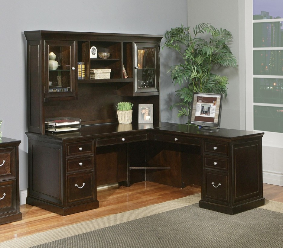 Amazing Dark Wood Desks For Home Office Home Office Gorgeous Home Furniture Idea With Dark Brown Wooden L