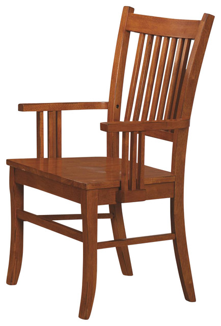 Amazing Dining Side Chairs With Arms Marbrisa Mission Style Medium Brown Finish Slat Back Wood Arm