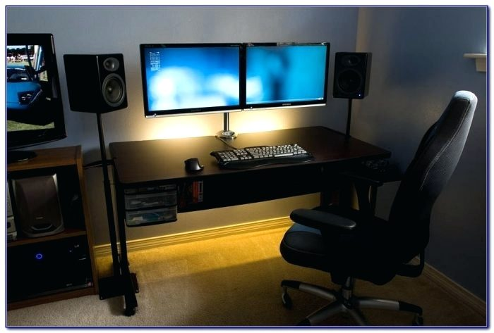 Amazing Double Monitor Desk Desk Double Monitor Free Standing Winston Model Gaming Computer