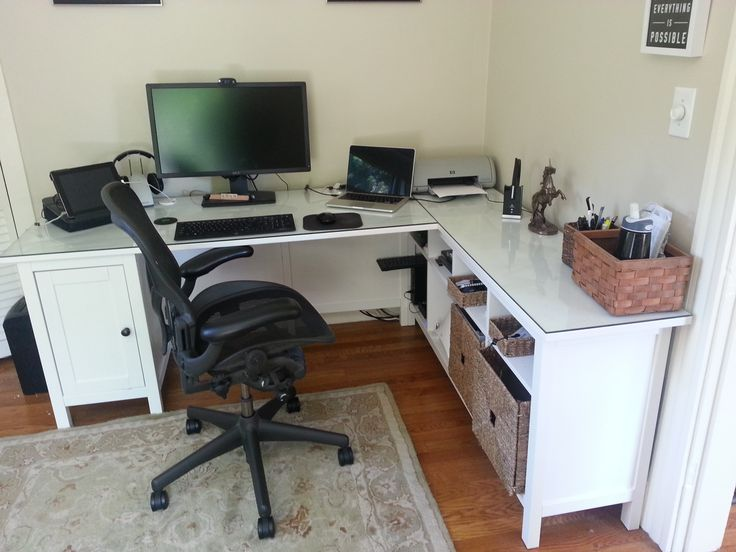 Amazing Home Office Corner Desk Ikea Hemnes Desk Minus One Pedestal Plus Hemnes Sofa Table Plus Glass