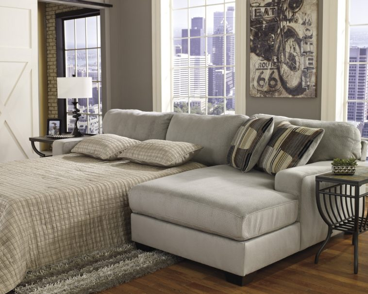 Amazing Large Sofa With Chaise Lounge Furniture Grey Microfiber Sleeper Sofa With Arms And Back Added