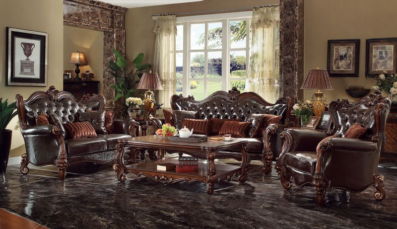 Amazing Leather And Wood Living Room Sets Von Furniture Versailles Formal Living Room Set In Dark Brown