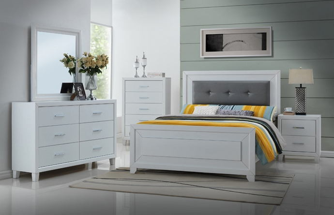 Amazing Leather Headboard Queen Bedroom Set 8020 Q 5 Pc Malibu Collection White Finish Wood Modern Style Grey