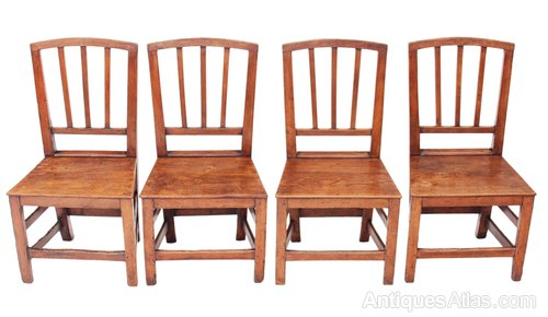 Amazing of 4 Dining Chairs Set Of 4 Georgian Elm Oak Kitchen Dining Chairs Antiques Atlas