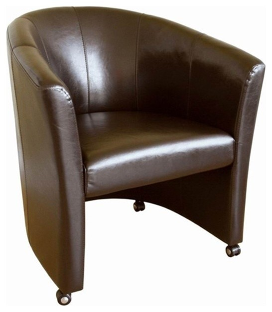 Amazing of Accent Chair With Wheels Faux Leather Club Chair With Wheels Contemporary Armchairs And