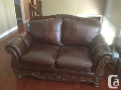 Amazing of Ashley Furniture Leather Loveseat Dark Brown Sofa Loveseat Ashley Furniture North Shore For Sale