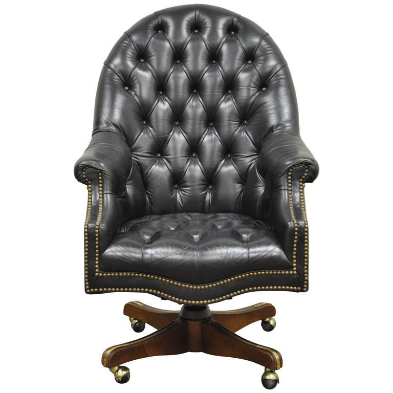 Amazing of Black Leather Office Chair Vintage Deep Tufted Black Leather English Chesterfield Style