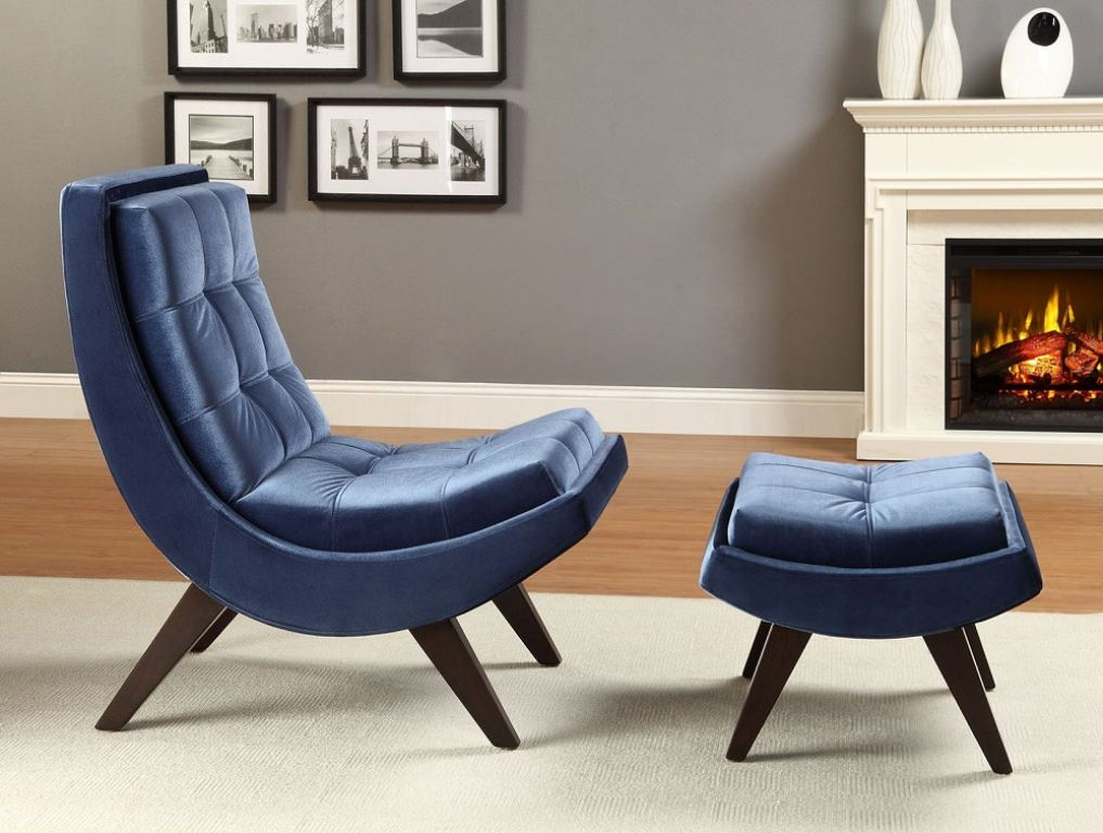 Amazing of Blue Accent Chair With Ottoman Contemporary Blue Accent Chair With Ottoman Home Design Lover