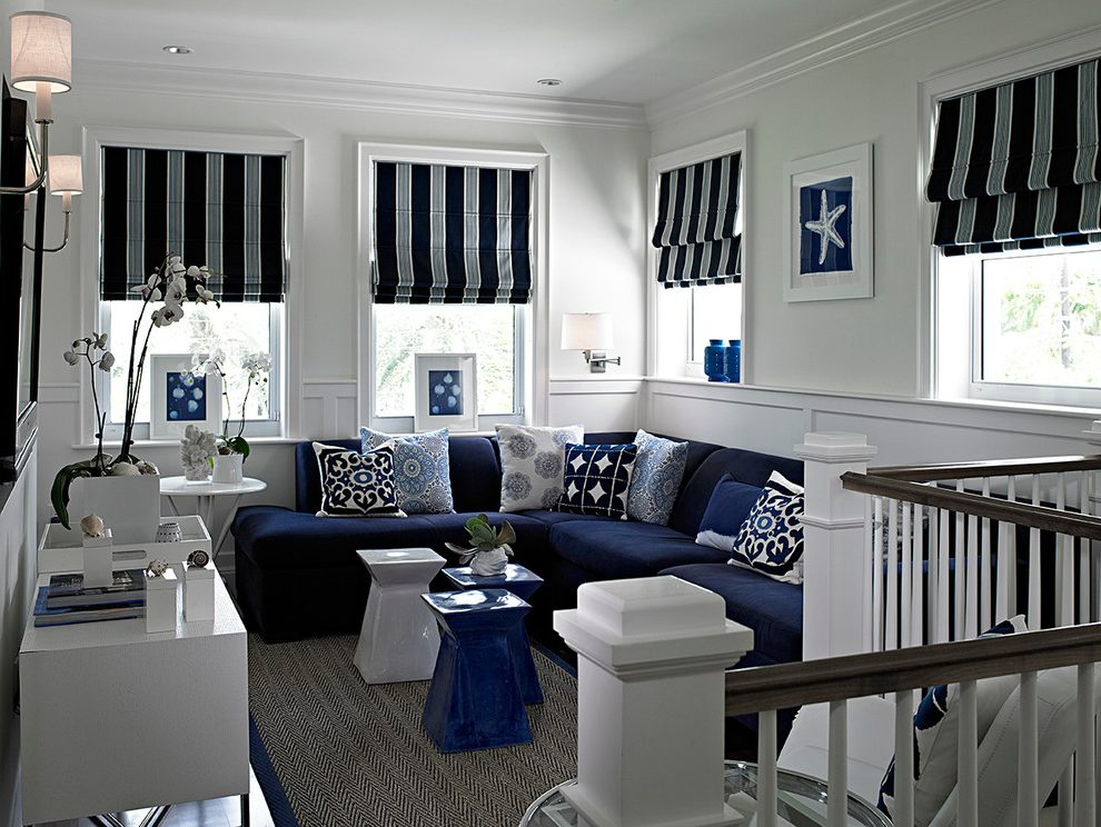 Amazing of Contemporary Navy Blue Sectional Sofa Modern Navy Blue Sectional Family Room Transitional With Wall