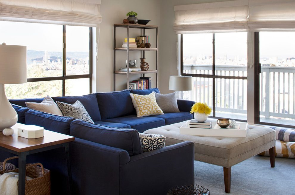 Amazing of Contemporary Navy Blue Sectional Sofa Modern Navy Blue Sectional Living Room Contemporary With L Shaped