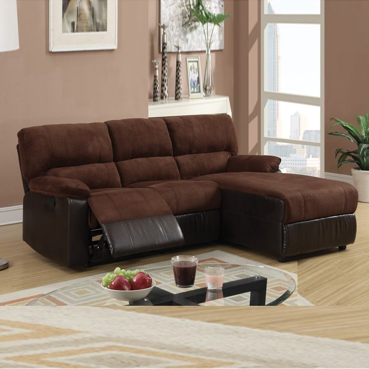 Amazing of Couch With Chaise And Recliner Small Chocolate Microfiber Loveseat Recliner Right Chaise