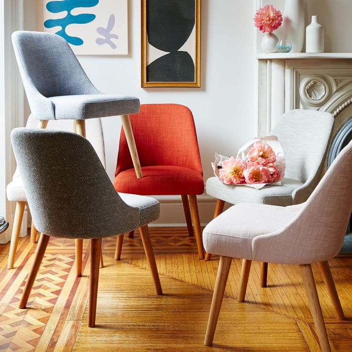 Amazing of Fabric Dining Chairs Mid Century Dining Chair West Elm