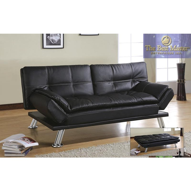 Amazing of Faux Leather Futon Couch H250 Adjustable Futon Sofa Bed In Black Faux Leather Best
