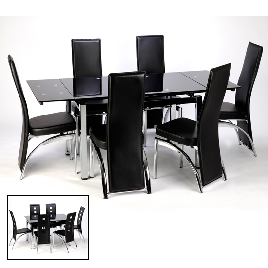 Amazing of Glass Extendable Dining Table Set Extending Black Glass Dining Table And 6 Chairs Set Home