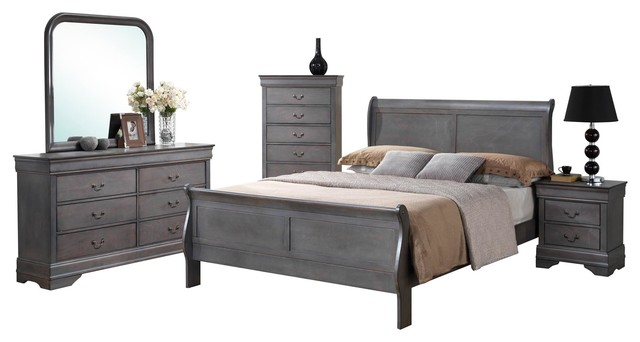 Amazing of Gray Bedroom Furniture Sets 5 Piece Louis Philippe Driftwood Gray Sleigh Bedroom Collection