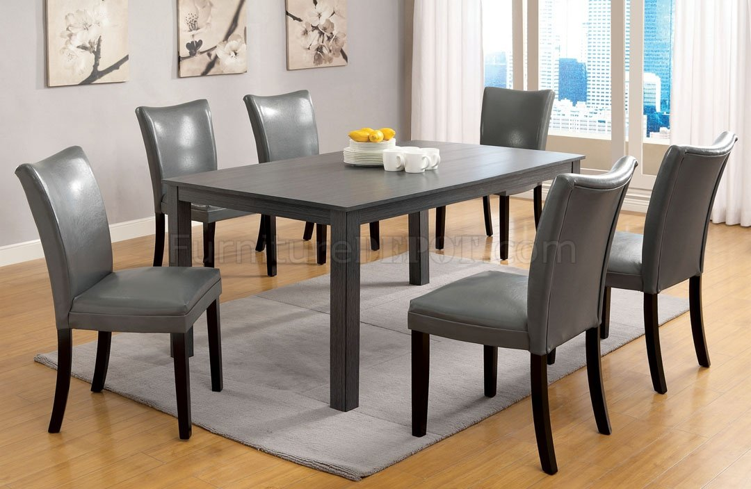 Amazing of Gray Dining Chairs Cm3179t Kenton I 7pc Dining Set In Gray
