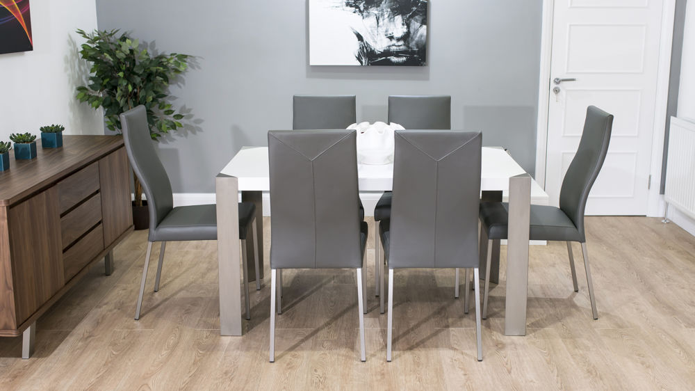 Amazing of Grey Dining Chairs With White Legs Modern White Gloss Dining Table Brushed Metal Legs Real