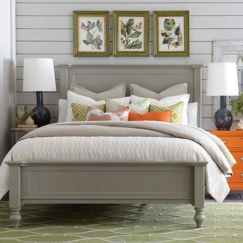 Amazing of Grey Full Size Bed Size Cottage Style Panel Bed In Grey