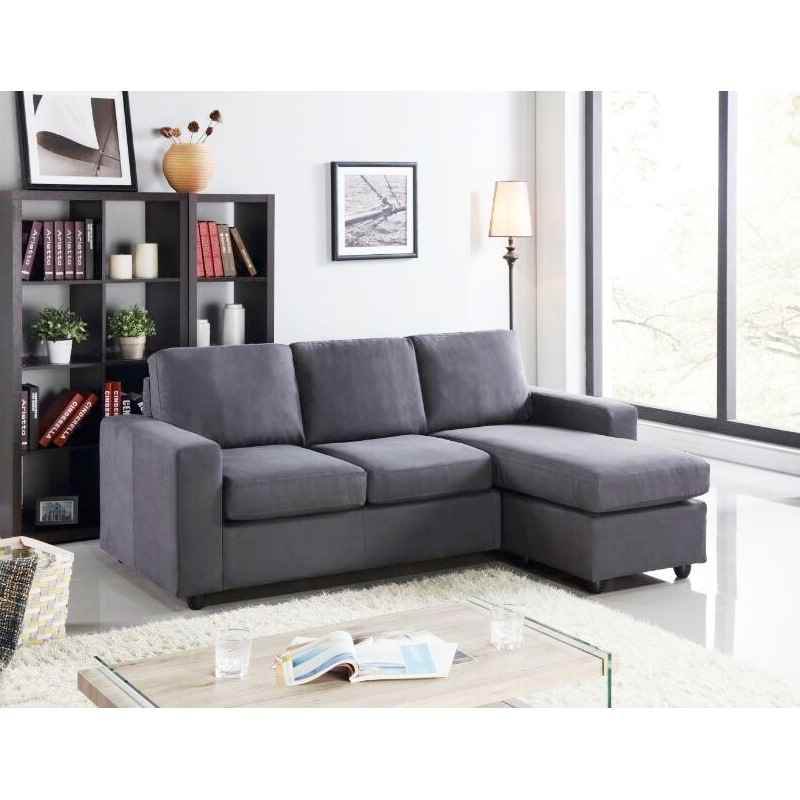 Amazing of Grey Leather Chaise Lounge Jasper 3 Seat Fabric Couch W Chaise Lounge In Grey Buy Sofas