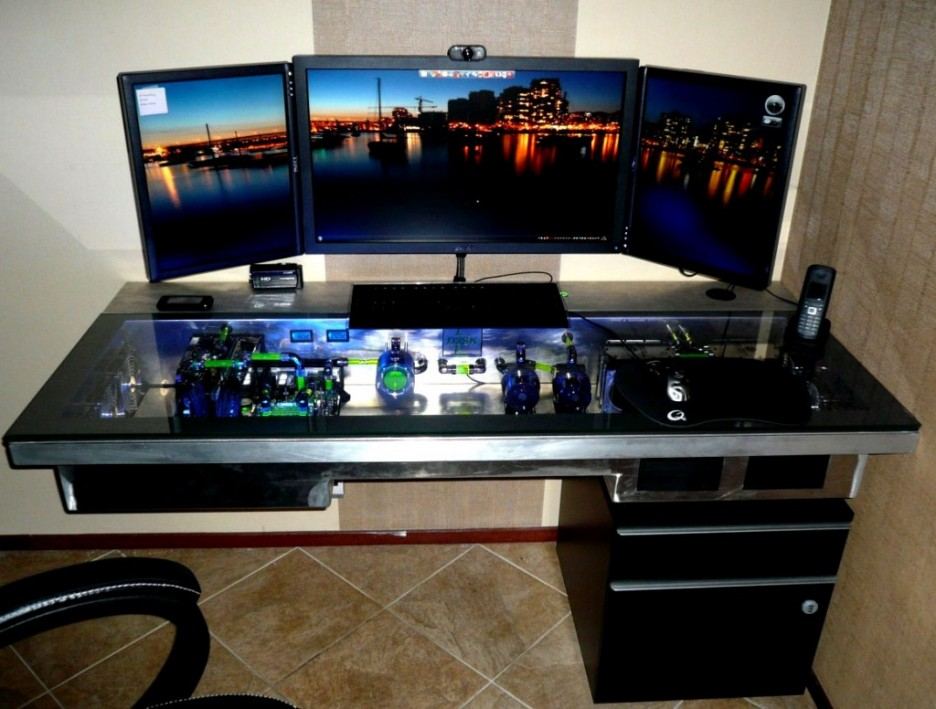 Amazing of Large Computer Desk Exotic Modern Computer Desk With Glass Table Contain Lighting