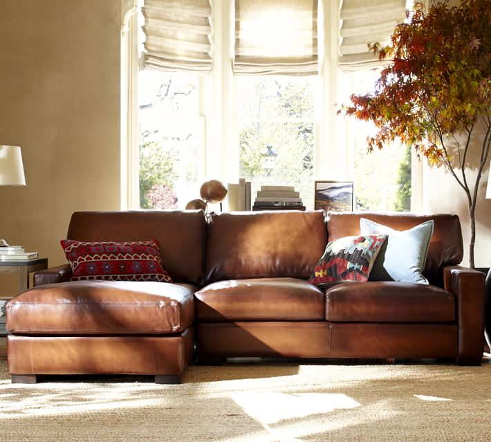 Amazing of Leather Sectional With Chaise Quick Ship Turner Square Arm Leather Sofa With Chaise Sectional