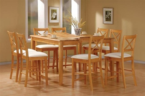 Amazing of Maple Dining Chairs Maple Finish Counter Height 9 Piece Dining Set With Butterfly Leaf
