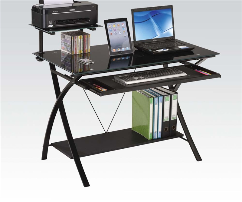 Amazing of Metal Computer Desk Erma Black Glass And Metal Computer Desk Acme 92078