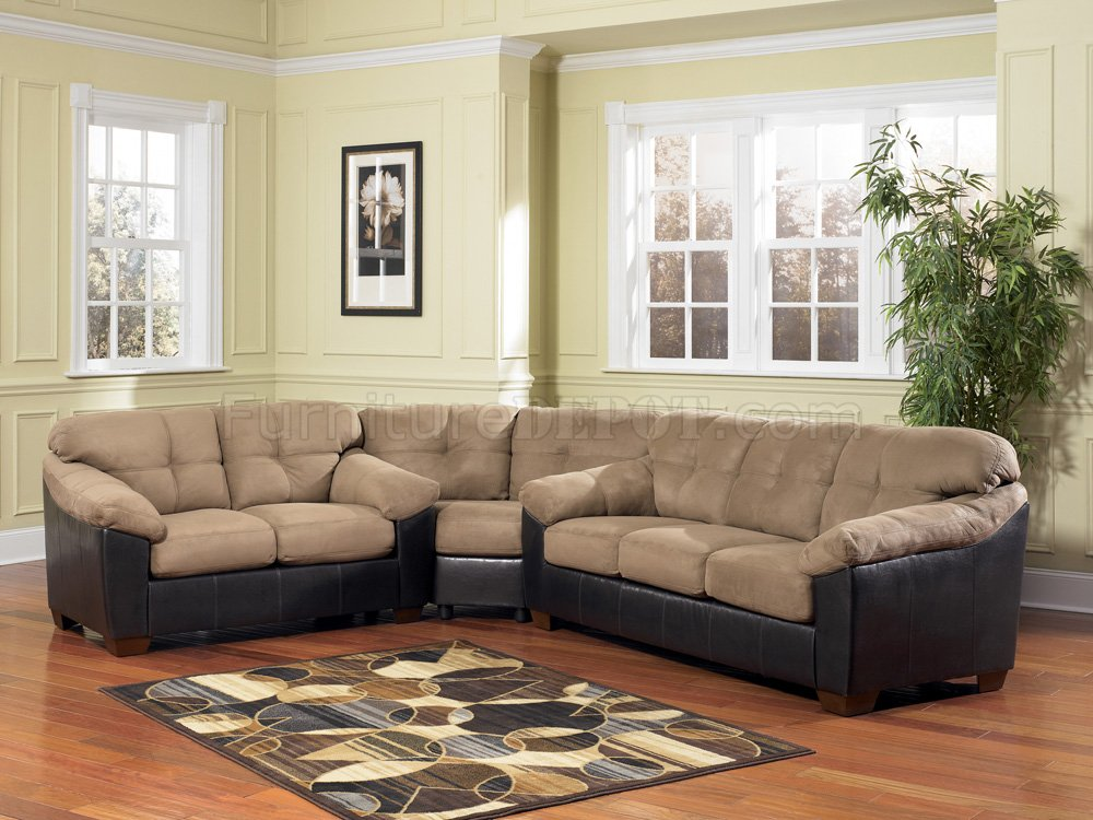 Amazing of Microfiber Leather Sectional Sofa Ashley 3590 Cocoa Microfiber Sectional Sofa Wfaux Leather