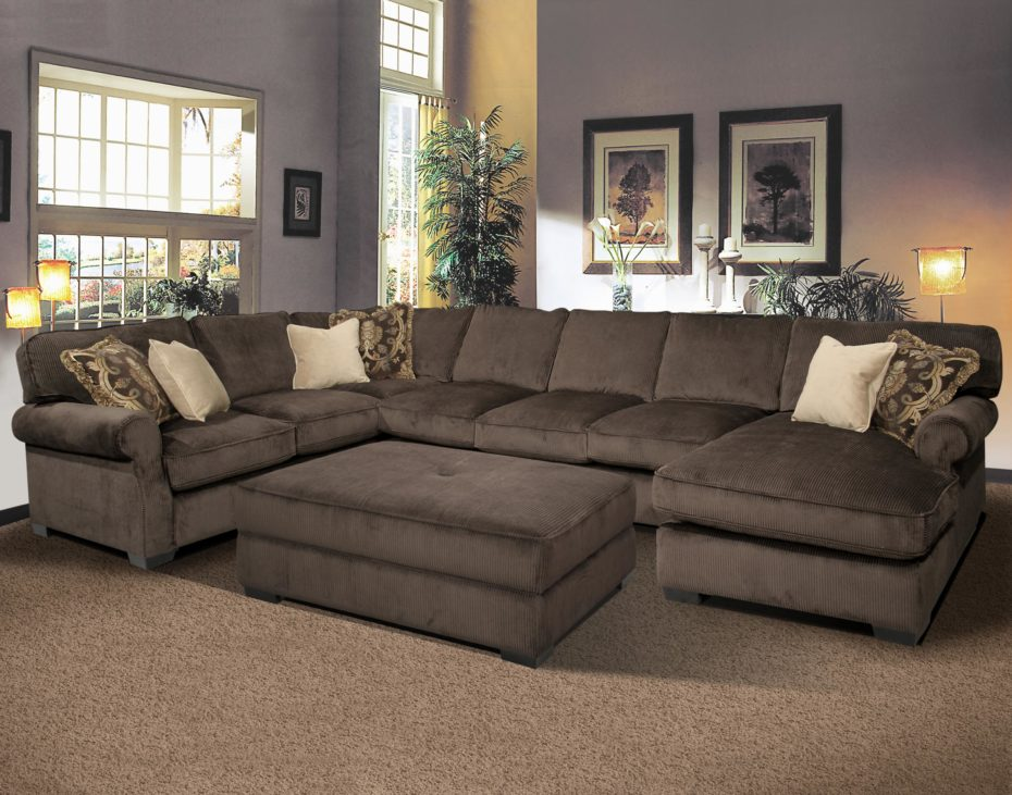 Amazing of Microfiber U Shaped Sectional U Shaped Gray Microfiber Sectional Sofa With Right Chaise Lounge