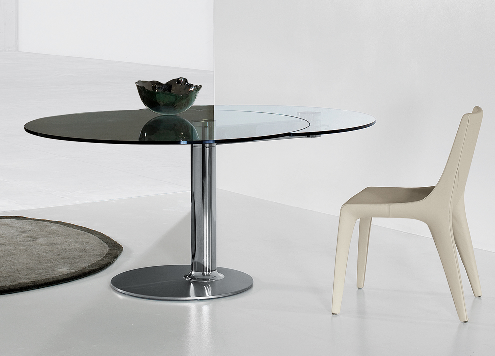 Amazing of Modern Glass Round Dining Table Modern Dining Set Roundoval Extending Table 6 Blackwhite Chairs