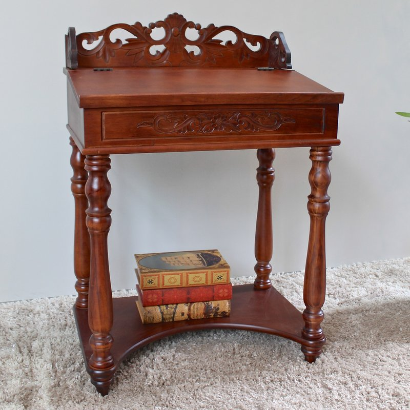Amazing of Small Table Desk International Caravan Windsor Hand Carved Small Wood Writing Desk