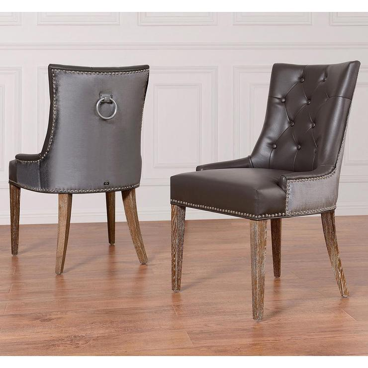 Amazing of Tufted Leather Dining Room Chairs Grey Leather Velvet Dining Chair