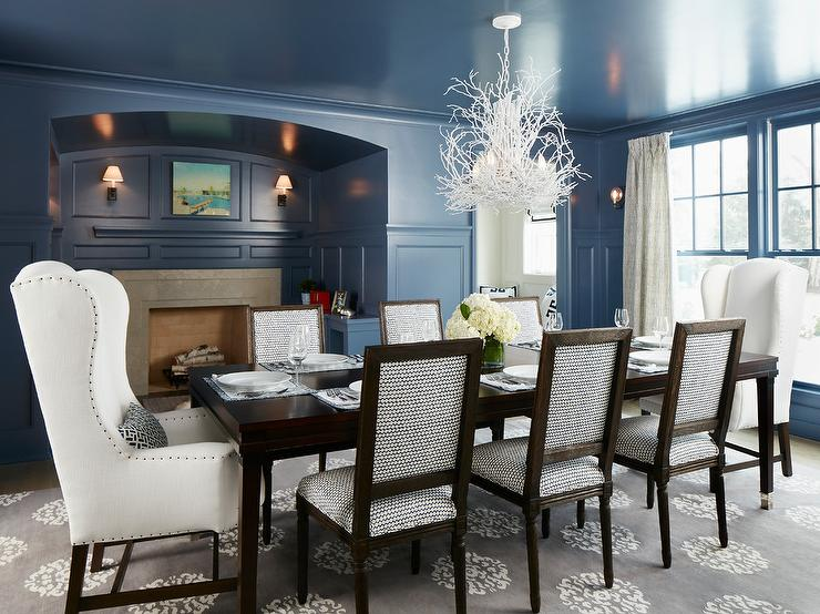 Amazing of White And Brown Dining Chairs Blue Paneled Dining Room With Fireplace Nook Transitional