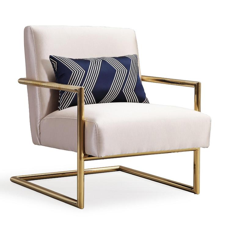 Amazing of White And Gold Accent Chair Beige Gold Linen Accent Chair