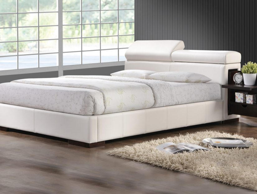 Amazing of White Upholstered Bed Frame Pearl White Crocodile Skin Leatherette Upholstered Bed Frame