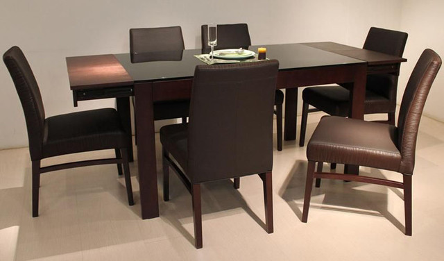 Amazing of Wood And Glass Dining Table Designs Lately Wood And Glass Top Designer Modern Dining Room Contemporary