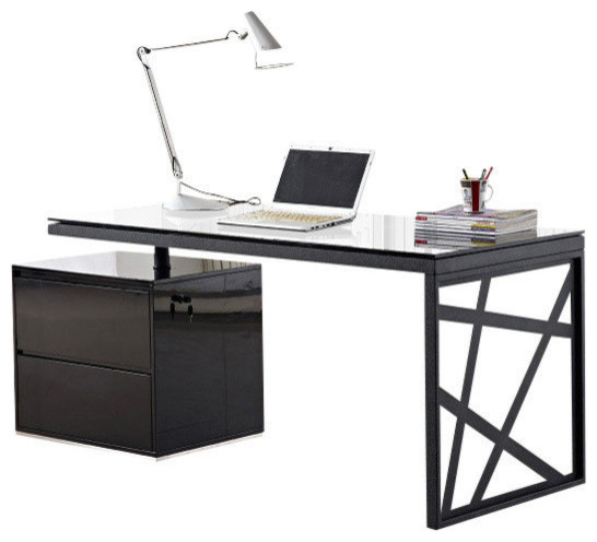 Amazing Office Black Desk Jm Furniture Kd01 Modern Office Desk In Black Contemporary