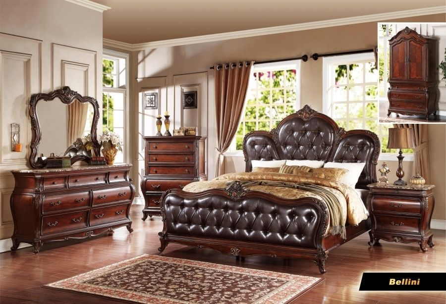 Amazing Queen Bedroom Set With Armoire Bellini 6 Pc Cherry Queen Bedroom Set Armoire Mirror Dresser