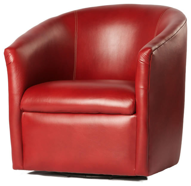 Amazing Red Leather Accent Chair Draper Swivel Chair Contemporary Armchairs And Accent Chairs