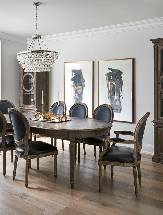 Amazing Round Back Kitchen Chairs Oval French Dining Table With Black Leather Round Back Chairs